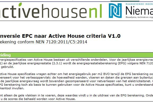 Omrekentool Active House energiespecificaties