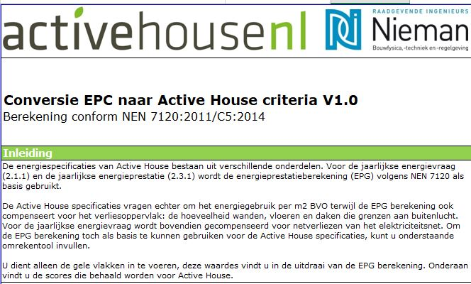 Omrekentool Active House energiespecificaties